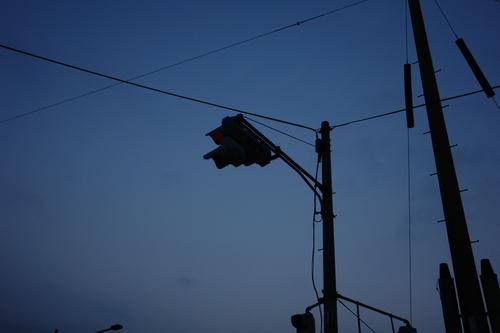 夜明けの信号機